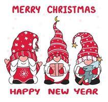 boom gelukkig kleine kabouter in rode hoed, vrolijk kerstfeest