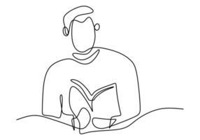 enkele continue lijntekening jongen focus leesboek. zitten en studeren met zijn boek. vector illustratie