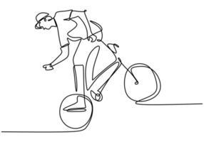enkele doorlopende lijntekening van jonge fietser toont freestyle staan op een fiets. extreem riskante truc. één regel tekenen ontwerp vectorillustratie voor freestyle vector