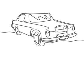 een enkele lijntekening van oude retro vintage auto. klassiek transportvoertuigconcept. vintage racewagen rijden op stoffige weg. doorlopende lijn tekenen ontwerp illustratie vector