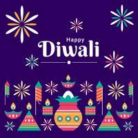 Diwali hindoe-festival ontwerpset elementen vector