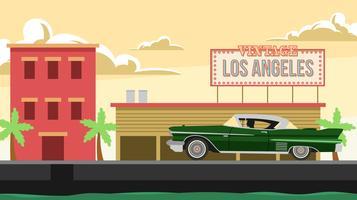 Vintage Los Angeles en klassieke Candillac gratis Vector
