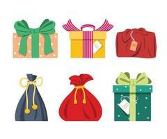 zes stijl van cadeautjes voor festival decoratief element.