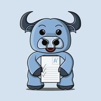 een schattige blauwe buffelmascotte die graag een plus-score krijgt