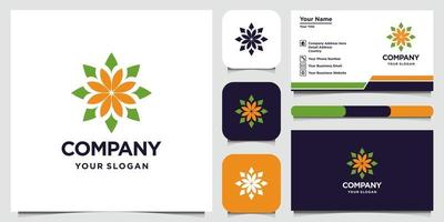 abstract bloemlogo-ontwerp met lijntekeningen stijllogo en visitekaartje