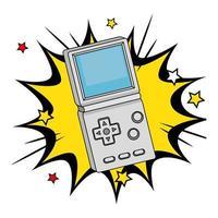 handgreep van videogame uit de jaren negentig in pop-art explosie