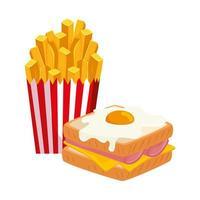 heerlijke sandwich met gebakken ei en frietjes geïsoleerde pictogram vector
