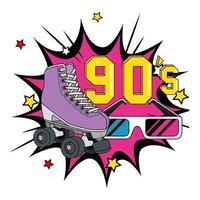 rolschaats met bril uit de jaren negentig in explosie pop art