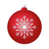 vrolijk kerstfeest rode bal decoratie met sneeuwvlok vector