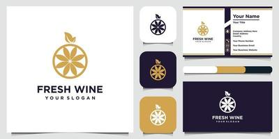 hoge kwaliteit vlakke stijl pictogram illustratie van druiven en visitekaartje