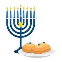 kroonluchter met kaarsen en brood geïsoleerd pictogram