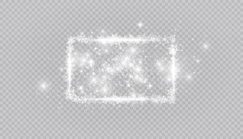 rechthoekige wintersneeuw framerand met sterren, sparkles en sneeuwvlokken