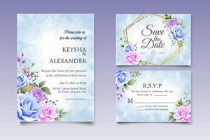 hand tekenen bloemen bruiloft uitnodigingskaart