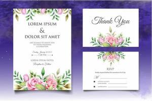 mooie hand tekenen bloemen bruiloft uitnodiging sjabloon