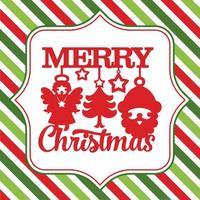 vrolijk kerstfeest schattige symbolen streep achtergrond