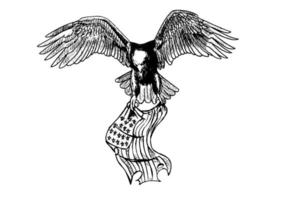 hand getrokken zwart-wit vliegende adelaar die Amerikaanse vlag houdt die op witte achtergrond wordt geïsoleerd. adelaar met Amerikaanse vlag illustratie voor behang, poster of logo.
