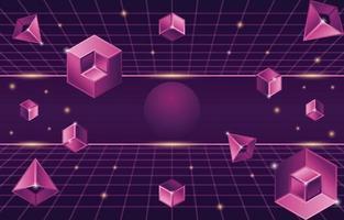 retro futurisme achtergrond met geometrische 3D-elementen