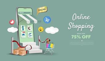 online winkel op het ontwerp van website en mobiele telefoon. slimme bedrijfsmarketingconcept. horizontale weergave. vector illustratie.