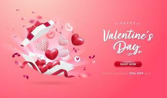 gelukkige valentijnskaartdag achtergrond of banner met mooie elementen.