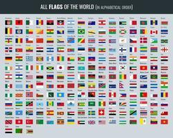 set van alle vlaggen van de wereld vector