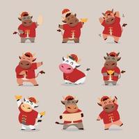 gelukkig chinees nieuwjaar 2021 os-dierenriem met schattige koe-tekenset vector
