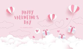 gelukkige Valentijnsdag achtergrond, kaartuitnodiging met papier gesneden stijl hemel