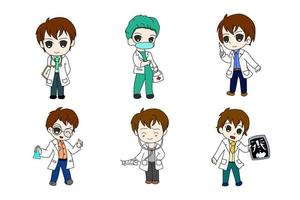 dokter zes bundel anime chi-bi set vector