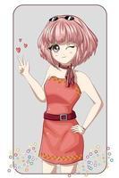 mooi animemeisje die roze minikleding met roze kort haar dragen vector