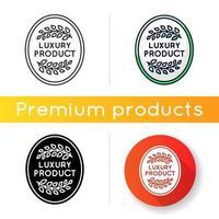 luxe product icoon. lineaire zwarte en rgb-kleurstijlen. goederen van topkwaliteit, premium statusgarantie, merkwaarde. elegant embleem met lauriertakken geïsoleerde vectorillustraties