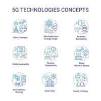 5g technologieën concept pictogrammen instellen. wereldwijde dekking. snelle verbinding idee dunne lijn illustraties. mobiel internet. Draadloze technologie. vector geïsoleerde overzichtstekeningen. bewerkbare streek