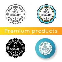 topkwaliteit icoon. lineaire zwarte en rgb-kleurstijlen. premium goederen, embleem van luxe producten. hoge kwaliteit, merkwaarde. prestigieuze badge met geïsoleerde kroon vectorillustraties