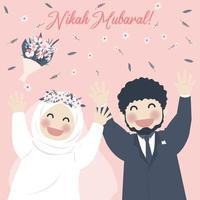 schattig moslimpaar viert nikah, nikah mubarak-groet vector