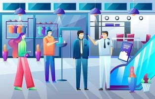 gezondheidsprotocol in de supermarkt vector