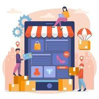 overschakelen naar online winkelen tijdens pandemie vector