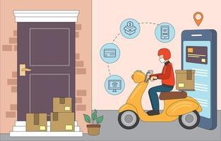 online winkelen tijdens de pandemie vector