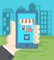 Flat online winkelen vector