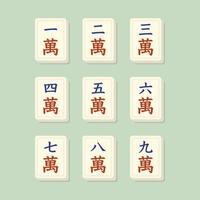 mahjong past bij karaktertegels vector