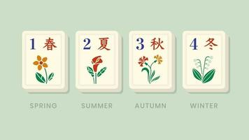 mahjong seizoenen bloemenbonustegels vector