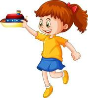 een meisje met een stripfiguur van het schip speelgoed geïsoleerd op een witte achtergrond