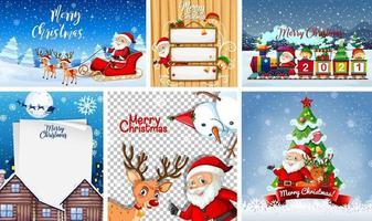 set van verschillende kerstkaart of poster vector