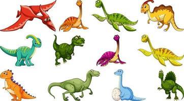 set van verschillende dinosaurus stripfiguur geïsoleerd op een witte achtergrond vector
