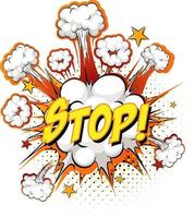 stop tekst op komische wolk explosie geïsoleerd op een witte achtergrond vector