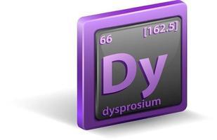 dysprosium scheikundig element. chemisch symbool met atoomnummer en atoommassa.