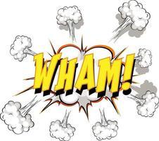 komische tekstballon met wham-tekst vector