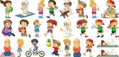 kinderen doen verschillende activiteiten stripfiguur ingesteld op witte achtergrond vector