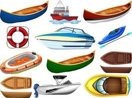 set van verschillende soorten boten en schepen geïsoleerd op een witte achtergrond
