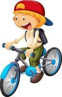 een jongen rijdt op een fiets stripfiguur geïsoleerd op een witte achtergrond vector