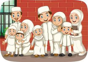 scène met moslimfamilie stripfiguur vector