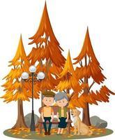 geïsoleerde scène met een oud echtpaar in het park vector