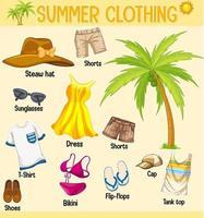 zomercollectie van kleding en accessoires geïsoleerd op gele achtergrond